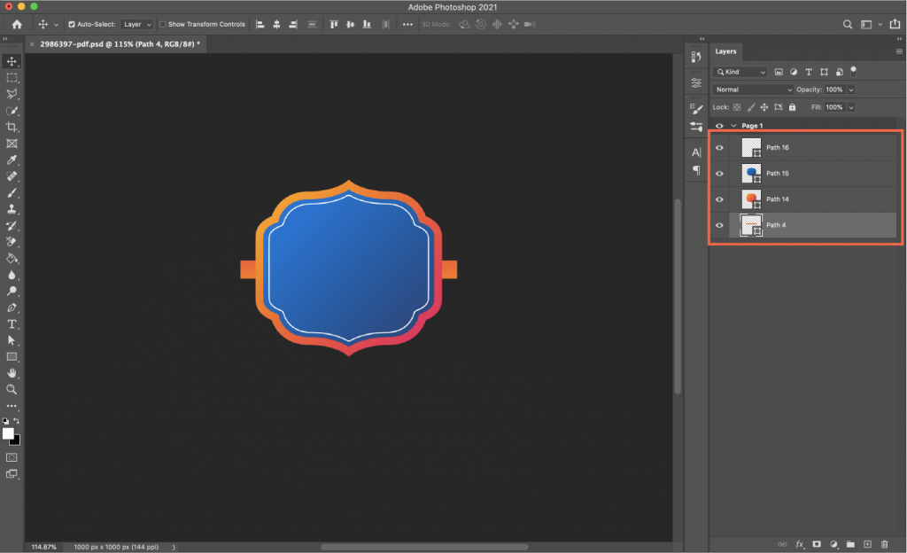 Exporitng layers in Photoshop